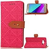 Samsung Galaxy J2 Prime Case, Meroollc Luxury PU Leather Wallet Flip Protective Daily Case Cover With Card Slots And Stand For Samsung Galaxy J2 Prime Hot Pink