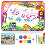 SUNYJOY Water Doodle Mat, Large Water Magic Drawing Mat Drawing painting mat 85 * 58 cm + Water Magic Book 4 Water Pens & 6 Stamps Painting Board Girls Boys 2 3 4 5 + Year old Birthday Christmas Day