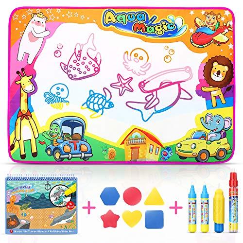 Sunyjoy Aqua Magic Doodle Matte Mit 1 Magisches Wassermalbuch,Wasser Zeichnung Matte 85x58CM 3 Wasser Stiftes 6 Charakterform, Pädagogisches Geschenk Spielzeug für Kinder