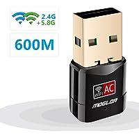Moglor Clé Wifi Dongle Adaptateur USB sans fil Mini Double Bande 600Mbps (2.4G/150Mbps + 5G/433Mbps) Compatible avec Windows XP/VISTA/7/8/8.1/10 Linux Mac OS (Mini 600Mbps)