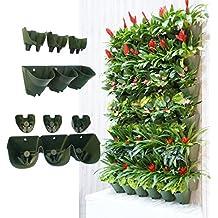 Worth Garden - Maceta vertical con sistema de autorriego, montaje en la pared, colgar macetas, 3 bolsillos y 3 filtros, uso interior o exterior