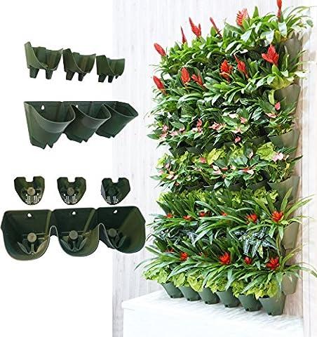 WORTH d'arrosage de jardin vertical mural Fleurs & # xff0C; Fleurs & # xff0C; à pots de fleurs W/3-pockets et 3filtres Couche & # xff0C; Idéal pour intérieur et extérieur Décoration & # xff0C; Paysage ou en génie plants 16in.L x 7in.W x 6.7in.H vert