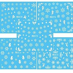 Frcolor 5pcs Nail Art adesivi natale neve Nail Art adesivi decalcomanie decorazione fiocco di neve