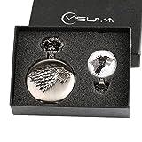 Game of Thrones Winter is Coming Taschenuhr Geschenk-Set für Jungen Herren Cool 3D Wolf Clan Schlüsselanhänger Uhren mit GLAS Dome Anhänger Halskette