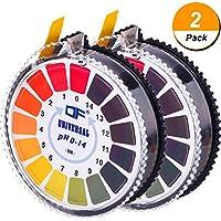 Papier Test de pH Universel Bandes de Test pH Rouleau de Bandes de Test pH, Mesure de pH Gamme Complète 0-14, 2 Rouleaux, 16,4 ft/Rouleau