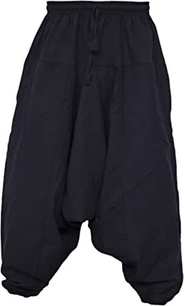 Gheri Men's Cotton Hemp Harem Aladdin Genie Wide Crotch Ninja Pants Trousers