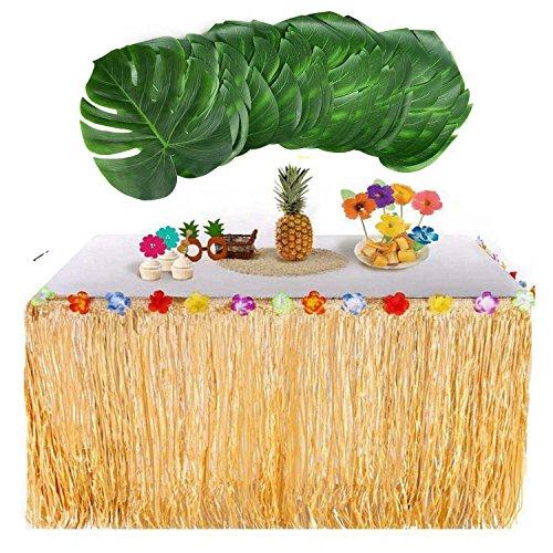 Rock mit 24 Stück Big Palm Blätter Tropical für BBQ Tropical Beach Hochzeit Sommer Tiki Party Dekorationen ()