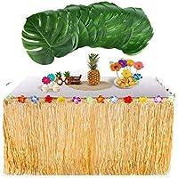awtlife Falda de mesa hawaiana Luau con 24 piezas Hojas de palma grande tropical para barbacoa Decoraciones de fiesta tropical Tiki Beach Wedding verano