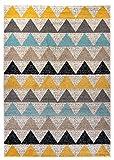 Carpetforyou Designer Moderner Kurzflor Teppich Desert New Dreieck bunt in 4 Größen für Wohnzimmer Schlafzimmer Jugendzimmer und Kinderzimmer (80 x 150 cm)