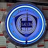 NEONUHR NEON CLOCK LANCIA ALT GARAGE WANDUHR BELEUCHTET MIT BLAUEN NEON RING