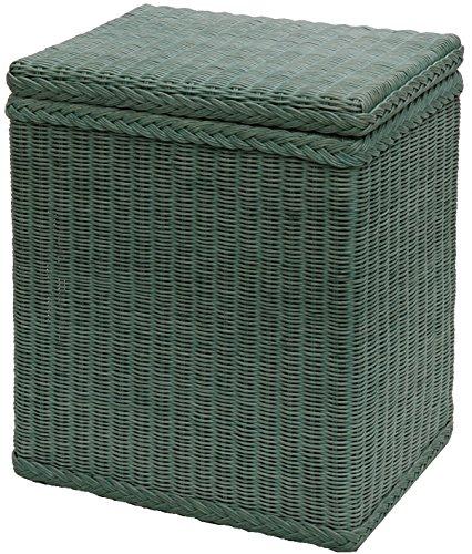 Wäschekorb / Wäschebox mit Deckel und Inlett aus echtem Rattan, Wäschetruhe (Grün)
