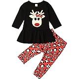 Traje Niña Navidad Conjunto Navideño para Bebé Recién Nacida con Vestido/Camiseta de Manga Larga + Pantalones Largos con Diad