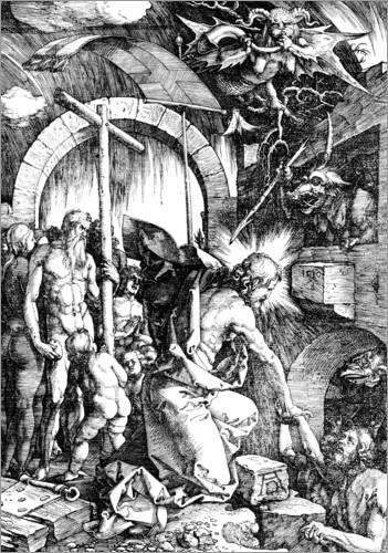 Acrylglasbild 50 x 70 cm: Die Höllenfahrt der Hölle oder Christus in der Vorhölle, von der großen Leidenschaft von Albrecht Dürer / Bridgeman Images (Sterben In Der Hölle)