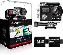 AKASO Action Kamera Brave 4 4K 20MP WiFi Action Cam Sony Sensor Ultra HD mit Bildstabilisierung 30m Unterwasserkamera mit Fernbedienung 2 Akkus und Zubehör Kit