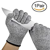#1: House of Quirk Cut Resistant Gloves Food Grade Level 5 Protection, Safety Kitchen Cuts Gloves for Oyster Shucking, Fish Fillet Processing, Mandolin Slicing, Meat Cutting and Wood Carving (Free Size)