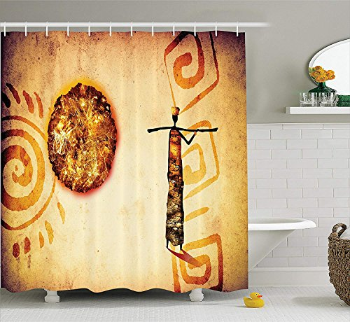 African Decorations Shower Curtain Set, Exotic African Tribal Patterns with Sun and Infinity Symbols Cultural Impressions, Bathroom Accessories, 66x72 inches, Brown Tan (Cake Halloween Walk)