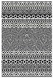 Grün Deko-leichte Outdoor wendbar Kunststoff Relic plastic Teppich (120 x 180 cm, Schwarz / Weiß)