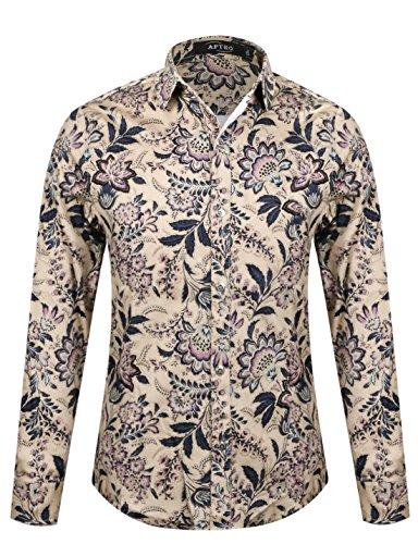 APTRO® Männer Herbst Blumen Baumwoll Drucken Ferien Art-langärmliges Blumen Hemd Flower #16019 DE (Für Mode 70er Jahre Herren)