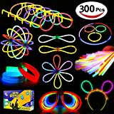 SPECOOL Glow Sticks 300 Stück 5 Farbe Party Favors, Armbänder, Halsketten, Blumenkugeln, Leucht, Butterfly Bracelets
