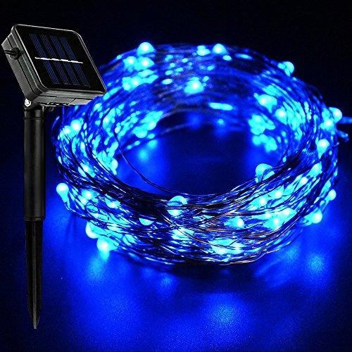 ne Lichterkette 20Meter 200Micro Starry LEDs Kupfer Draht Licht Indoor-/Outdoor Wasserdicht Solar Dekoration Beleuchtung für Garten, Home, Tanzen, Party, Blau, 10 m ()