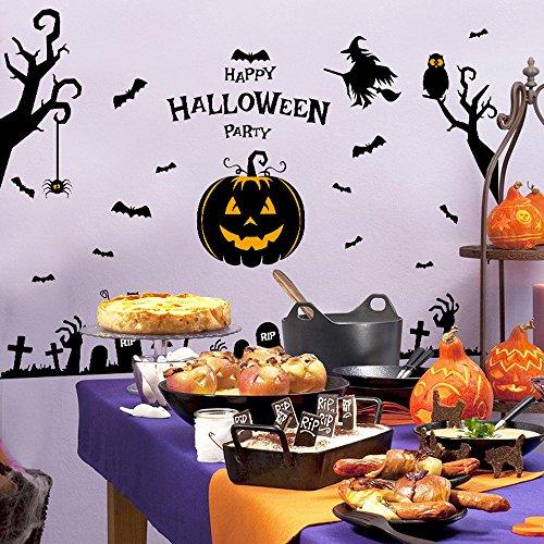te Kleber PVC-Festival-Dekor Halloween-Hexe-Kürbis-Wand-Aufkleber-Partei-Zuhause-Haus-Spuk Haus-Zauberer-Hexe-Kürbis-Kopf-Halloween-Wand-Aufkleber (Schwarz) (Strand-thema-partei-dekor)