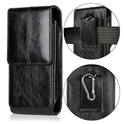 iPhone 7 Plus Gürtel Holster Tasche,iNNEXT PLUS GRÖSSE Beutel Vertikale Leder Hang Gürtelclip Case für Samsung Galaxy S8 Plus,5.5inch Handy (Schwarz) (Gürtel-clip Holster Iphone 6)