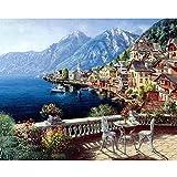 Gosear Paint Von Zahlen Landschaft DIY Öl Malerei Leinwand Von Zahlen mit Acryl Paint für Startseite Leben Zimmer Office Bild Decor Dekorationen