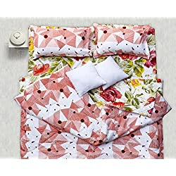 Story@Home Premium Soft and Light Weight Luxury Printed Reversible Floral Cotton Satin Double Comforter Filler - Pink