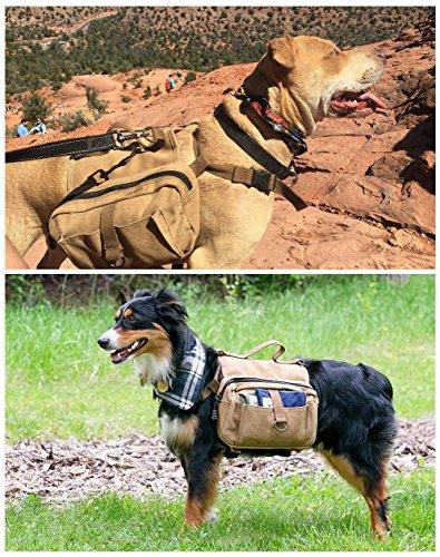 Lalawow Hunderucksack Harness Leinwand Sattel Tasche Für Draussen Reisen Training Camping Wandern (Braun) -