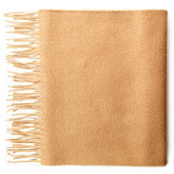 100% Cashmere Plain Scarf, Camel