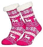 Piarini 1 Paar Kuschelsocken mit ABS Sohle | warme Damen Socken | Wintersocken mit Anti Rutsch Noppen | Deer-Pink (One-Size)