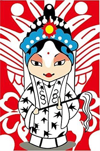 [ Nouvelle Libération] Peinture par numéros pour les enfants  s junior Starter Débutant - Opéra de Pékin Dan 8 * 12 pouces Peintures Cartoon - Paint meilleurs enfants par numéro Kits Sets - toile monté | Du