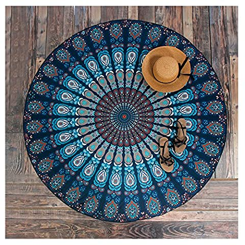 Yiuswoy Bohemian Peacock Circular Beach Throw,Gypsy Beach Blanket,Beach Towels,Indian Tapestry Rug,Dorm Room Decor,Round Tablecloth/Yoga Mat/Picnic Blanket -