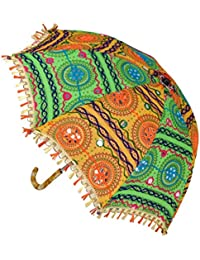 Traditional Handmade Embroidery Work Design Round Cotton Umbrella 21 X30 Inches