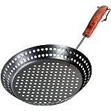 Santos Grillpfanne gelocht rund mit abnehmbarem Griff | Durchmesser 32cm | pulverbeschichtet - Grillkorb, Gemüsekorb, Grillschale