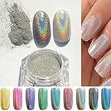 PhantomSky Unghie Scintillio Arte Glitter Brillante Magico Specchio Cromo Polvere di Chiodo Manicure Pigmento - Arcobaleno Argento(Confezione da 1g) immagine