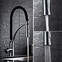 Contemporanea alta arco a collo di cigno girevole da 360 gradi becco acqua calda e fredda del miscelatore rubinetto estraibile di Down Kitchen Sink Faucet, Cromo Argento Rubinetti