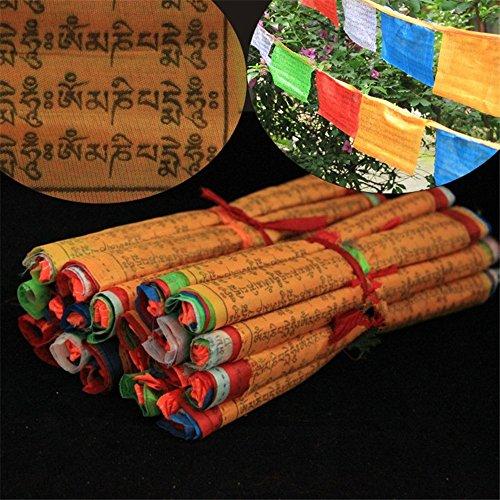 Dollbling string bandiere di preghiera buddista tibetano tibet stile decorativo bandiera 5meters lunga trasparente modello sutra streamer, 20pz bandiere/roll