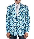 70er Jahre Muster Anzugsjacke Waves blau M