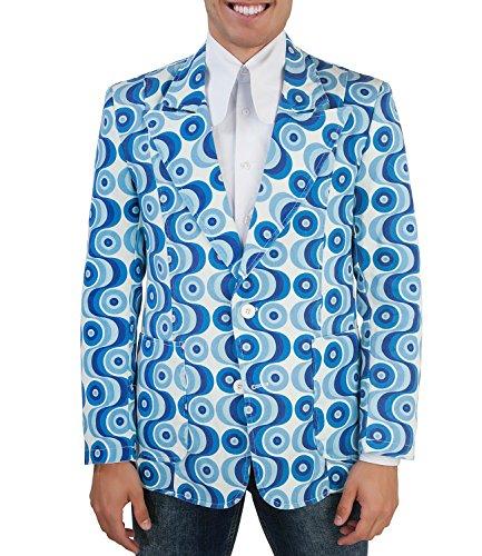COMYCOM 70er Jahre Muster Anzugsjacke Waves blau XXL