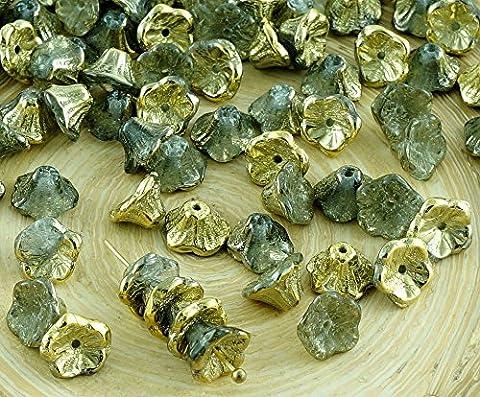 40pcs Crystal Metallic Gold die Hälfte der Tschechischen Glas Kleine Glocke Blume Perlen-Caps 7mm x 5mm