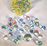 Rikirit 75 pcs of Glass Marbles with Shooter Unique Marbles Collections