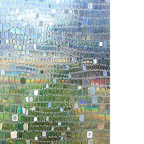 Rabbitgoo pellicola adesiva per finestre vetri pellicola vetro pellicola finestre 90x200cm-3d ciottolo decorativo statica anti-uv controllo di calore