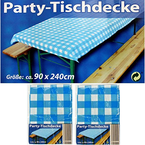 2x Party-Tischdecke Blau Weiß Bierzelt Garnitur Garten Bierbank Biertisch Fest