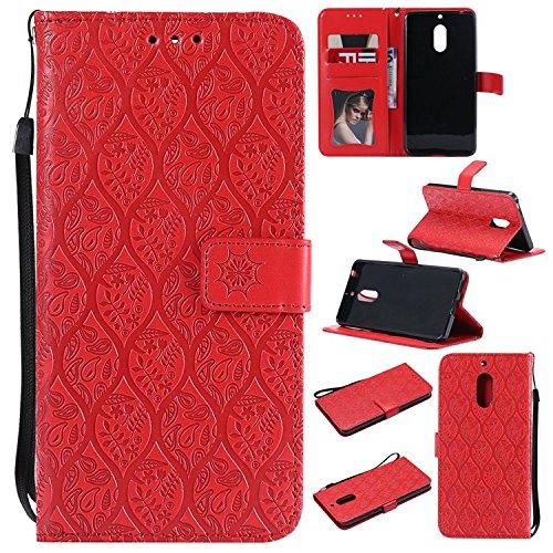 Guran PU Leder Tasche Etui für Nokia 6.1(2018 Version)/Nokia 6(2018 Version) Smartphone Flip Cover Stand Hülle und Karte Slot Rattan Case - Rot