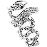 ثعبان موازين طويلة مقلد أسود ثعبان خاتم موجة الفضة الاسترليني الفرقة أحجام 7-13