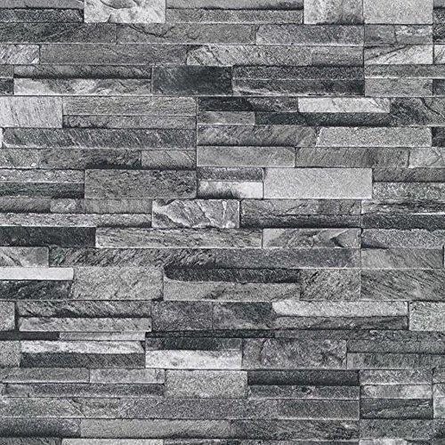 PS International Slate Brick Pattern Faux Stone Effect Textured Wallpaper Dark Grey 42106 20