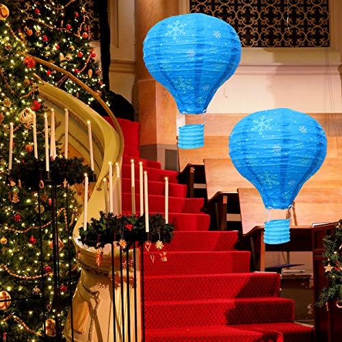 Uonlytech 5 stücke 12 zoll heißluftballon blaue schneeflocke papier laternen weihnachtsschmuck party papier laternen für hochzeit weihnachtsdekor -