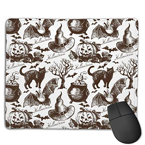 Mouse Pad Halloween Bat Pumpkin Cat Rectangle Rubber Mousepad 8.66 X 7.09 Inch Gaming Mouse Pad with Black Lock Edge