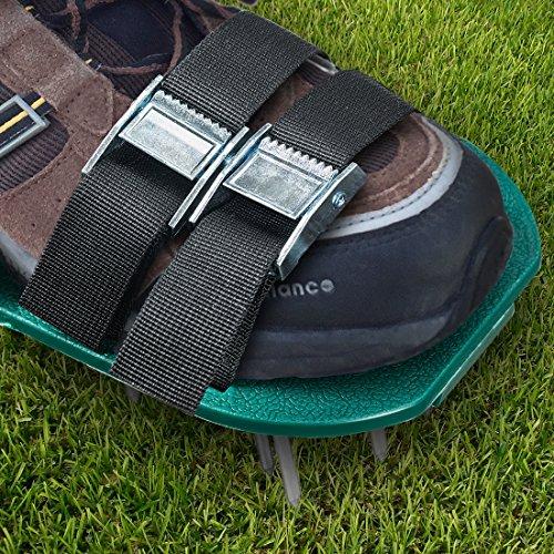 Chaussures aératrices de pelouse à crampon–pour aérer efficacement la pelouse–livrées avec 3sangles réglables avec boucles métallique–taille universelle qui convient à tous–pour une meilleure protection et une pelouse plus saine